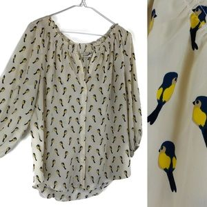 Old Navy Blue Bird Print Ballon Sleeve Sheer Tunic